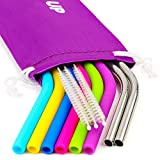 Silicone Straws for 30 oz Tumbler & Stainless Steel Straws Bundle - 6 REGULAR SIZE Silicone Straws for Yeti / Rtic / Ozark + 2 Brushes + 2 Metal Straws - Reusable Straws Extra Long + 1 Storage Pouch
