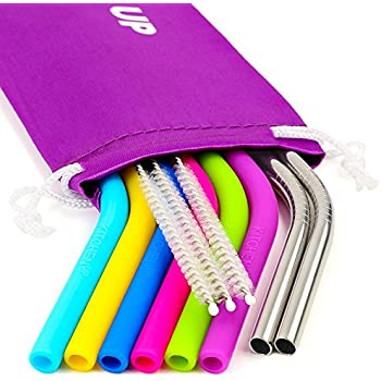 REGULAR SIZE Silicone Straws for 30 oz Tumbler & Stainless Steel Straws Bundle - 6 Silicone Straws for Yeti/Rtic / Ozark + 3 Brushes + 2 Metal Straws - Reusable Straws Extra Long + 1 Storage Pouch