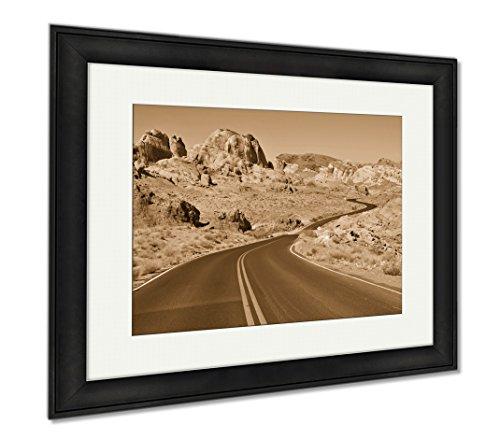 Ashley Framed Prints Red Rock Landscape Southwest USA, Wall Art Home Decoration, Sepia, 26x30 (frame size), Black Frame, AG6423250 (Art Rock Petroglyph)