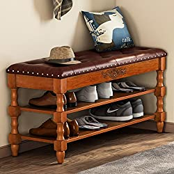 Tribesigns Shoe Bench, Solid Wood Shoe Bench Entryway with Lift Top, 2-Tier Vintage Style Shoe Rack with Tufted Leather Accents (Walnut.)