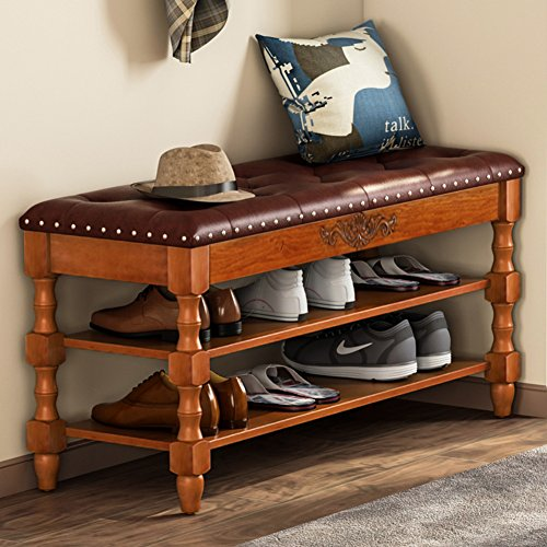 Tribesigns Shoe Bench, Solid Wood Storage Bench Entryway with Lift Top, 2-Tier Vintage Style Shoe Rack with Tufted Leather Accents (Walnut.) (Wood Storage Bench Small)