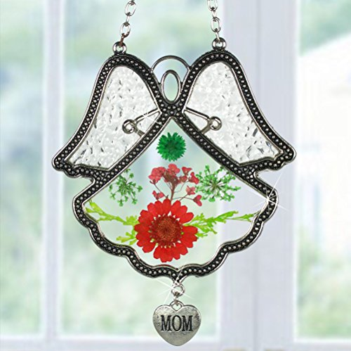 Mom Suncatcher (Mom Suncatcher - Glass Angel with Pressed Flowers and a Silver Mom Charm - Mother Sun Catcher - Stained Glass Angel)