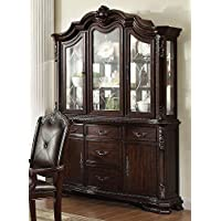 Kiera Rich Brown Wood Buffet w/ Hutch by Crown Mark