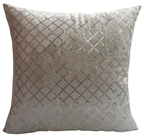 Flannelette Throw Pillow Cover with Shining Diamond Shape Sequins Decorations (White-Silver Sequin) (Sequin White Pillow)