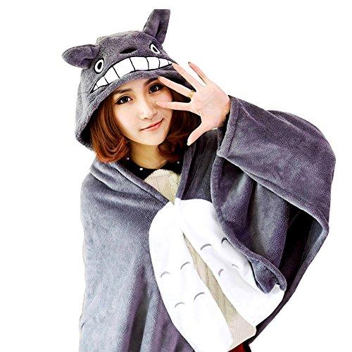 KINOMOTO Anime Cosplay Flannel Cloak Cape Hoodies Coat Daily Nap Throw Shawls Blanket Quilt (My Neighbor Totoro)