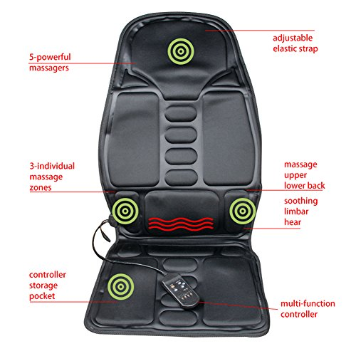 Pevor Electric Massage Cushion Mats With Heat For Chair Neck Shoulders Back Thigh Massagers For Home Auto And Office Use