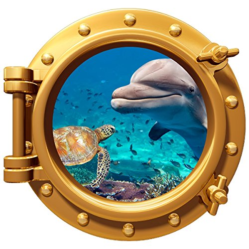 Dolphin Turtle Underwater Porthole Wall Color Decal Graphic 12
