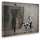 Giallo Bus 1214 Quadro Stampa Su Tela Canvas, Banksy, Donna Doccia, 50 x 70 cm