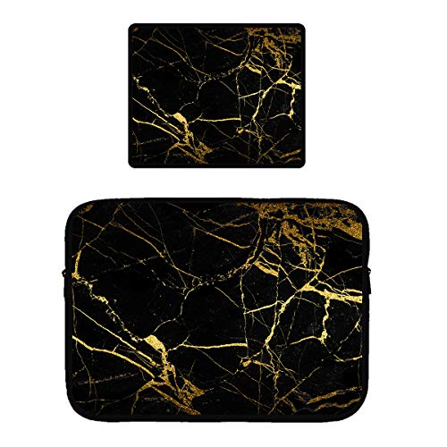 Chic Black Gold Marble Texture Zipper Water Resistant Tablet Sleeves Neoprene 360° Protective Computer Case Bag Cover with Anti-Slip Rubber Base Mouse Pad with Stitched Edges