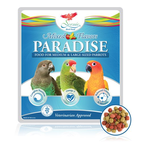 Scenic Paradise Food for Medium & Large Sized Parrots (Mix: Apple, Corn and Chili Flavor) (Apple, Corn, Chili)