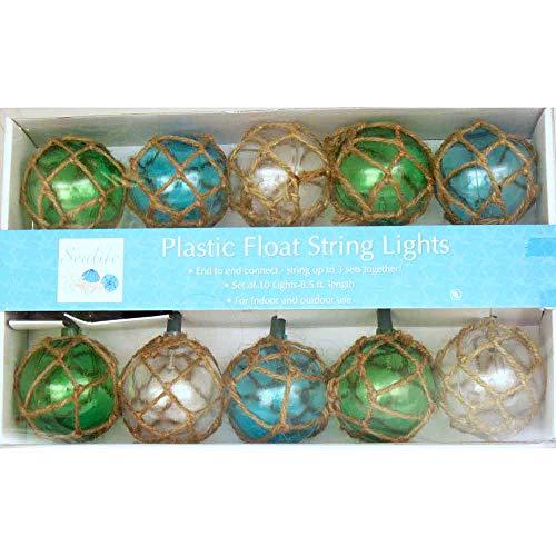 Vintage Glass-Style Buoy Float String Lights - Assorted Twine (Bar Tiki Lights Outdoor)