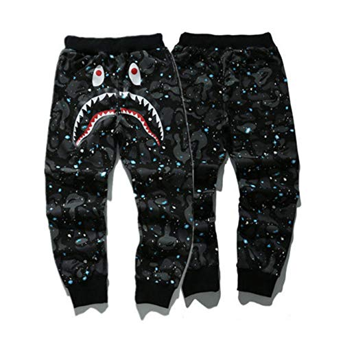 - New Bape A Bathing Ape Shark Head Trousers Mens Sports Casual Cotton Sweat Pants (Star, XL)