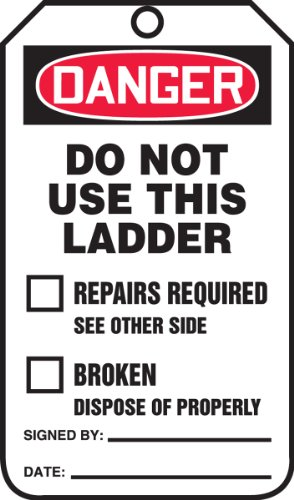 Accuform Signs TRS331CTP Ladder Status Tag, Legend''DANGER DO NOT USE THIS LADDER'', 5.75'' Length x 3.25'' Width x 0.010'' Thickness, PF-Cardstock, Red/Black on White (Pack of 25) by Accuform Signs