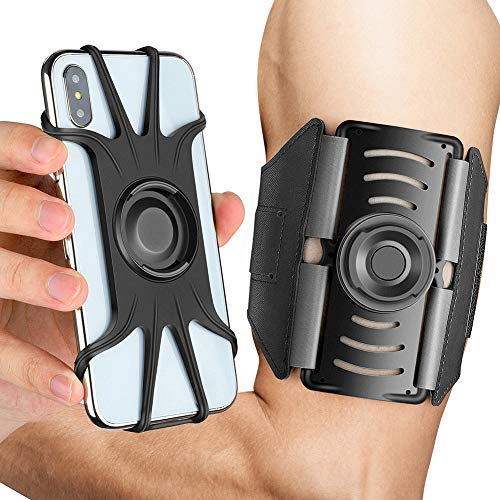 Detachable VUP Running Armband, 360° Rotatable Cell Phone Holder Compatible with iPhone Xs Max/XS/XR/X/6S/7/8 Plus, Galaxy S10/S9 Plus/S8/ Note 9/8/J7, Google Pixel 3a Arm Band for Gym Workout