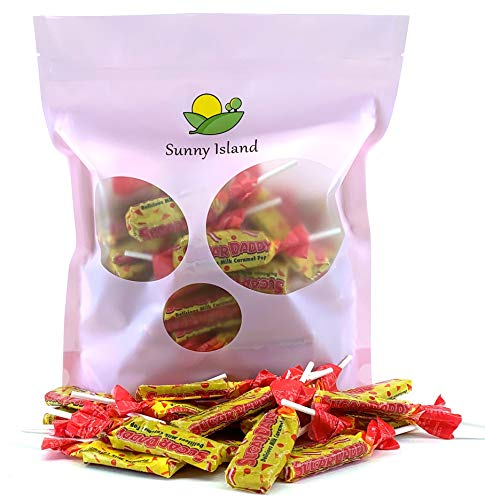 (Sunny Island Bulk - Sugar Daddy Lollipops Small Candy Pops, Taffy Milk Caramel Flavor, 2 Pounds Bag)