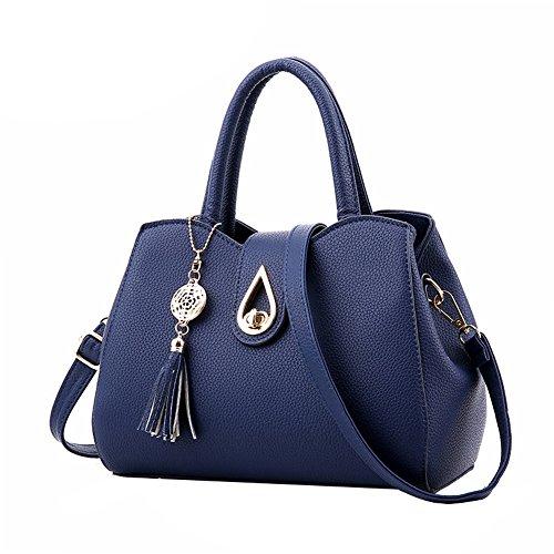 SHUhua - Bolso mochila  de Piel para mujer azul oscuro