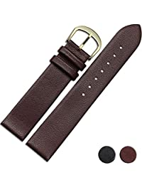 NESUN Unisex Calfskin Leather Watch Band Sultable For Tissot/Omega/Longines Watches 22mm Gold Brown