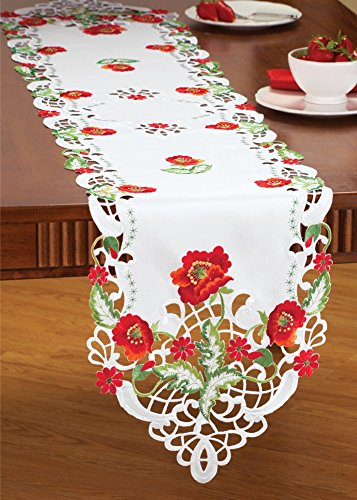Floral Poppy Table Linens Runner