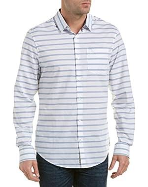 Mens Long Sleeve Horizontal Jaspe Woven Shirt