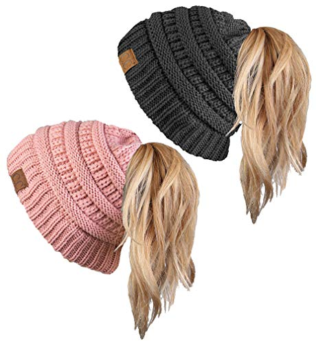 (BT-6020a-2-7071 Solid Messy Bun Beanie Tail Bundle - 1 Charcoal, 1 Indi Pink (2 Pack))