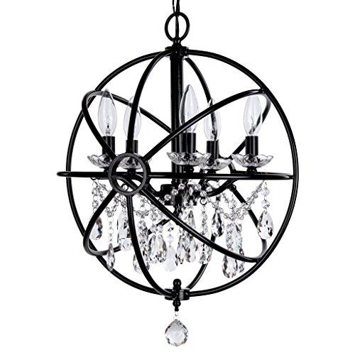 Modern Orb Crystal Swag Chandelier with 5 Lights, Sphere Glass Pendant Ceiling Lighting Fixture (Black)