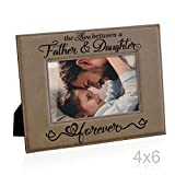 Kate Posh The Love between a Father & Daughter is Forever Engraved Leather Picture Frame, First (1st) Father's Day Gifts, Birthday & Christmas Gifts for Dad, New Dad, Daddy & Me (4x6-Horizontal)
