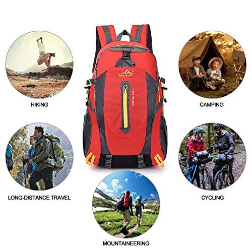 40L Mochila de Senderismo Ligero, Yunplus MúLtiples Funciones Impermeable Casual Mochila Camping Para Deporte Al Aire Libre Escalada Trekking Alpinista 52 X 33 X 16 cm rojo