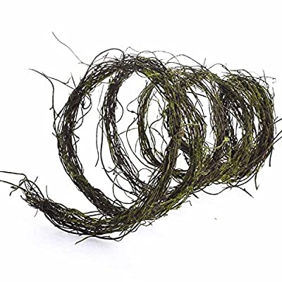 6 Feet of Dried Grapevine Twig Garland with Mossy Accents Throughout for Home Decor, Crafting and Embellishing