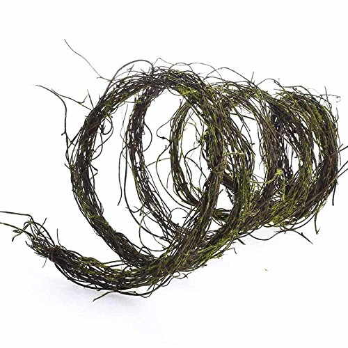 6 Feet of Dried Grapevine Twig Garland with Mossy Accents Throughout for Home Decor, Crafting and Embellishing ()