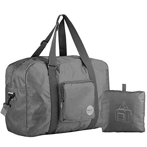 Wandf Foldable Travel Duffel Bag Luggage Sports Gym Water Resistant Nylon, Grey