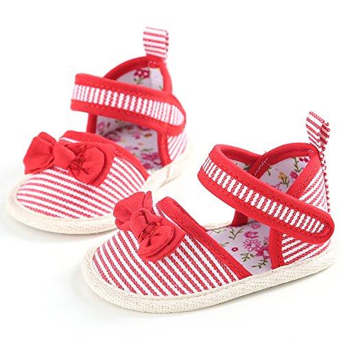 Zapato de Primer Paso Luerme Sandalias de Bebé Diseño de Raya Zapato para Verano Rojo