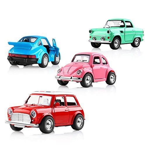 LYhopes Pull Back Cars, 4 Pack Assorted Mini Pull Back Cars, Alloy Car Toy Vehicles Acousto-optic Toys,Pull Back and Go Car Toy Play Set for Kids, Toddler Party Favors by LYhopes