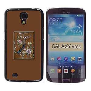 """Pulsar Snap-on Series Teléfono Carcasa Funda Case Caso para Samsung Galaxy Mega 6.3 , Pájaro del arte floral Pintura del vintage"""""""