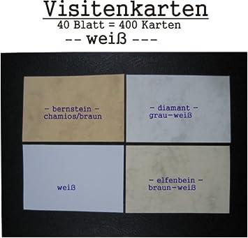 400 Visitenkarten Weiß Zum Selbstbedrucken 40 Blatt A 10 Karten A4 85 X 55 Mm Microperforiert