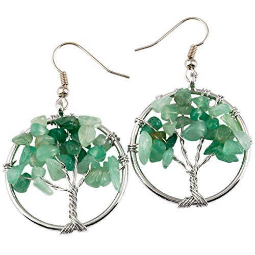 (SUNYIK Green Aventurine Tree of Life Dangle Earrings for Women(Silver Plated))