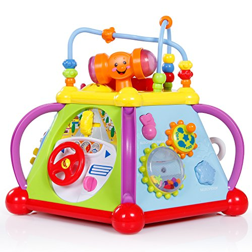 SGILE Musical Activity Play Center Cube Toy with Various Lights and Sounds, Multifunctional Games with Movable Mobile and Hammer for kids children Toddlers