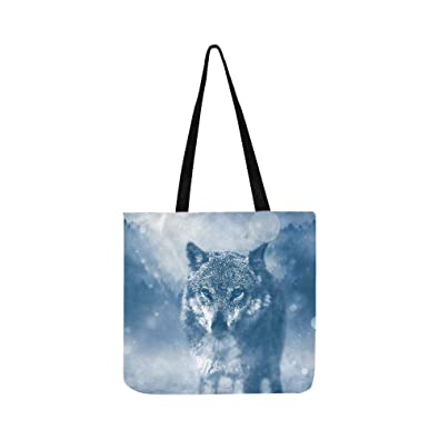 6bb14d50f879 Amazon.com: Cool Wolf Blue Eyes In Freezing Forest Pattern Canvas ...