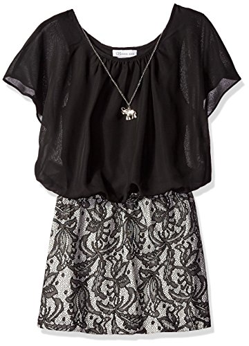 Bonnie Jean Big Girls' Chiffon Blouson Bodice To Bonded Lace, Black, 10 Bonnie Jean Bodice Jeans