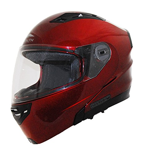 Helmet Red Modular Candy - Stealth Vertice Full Face Modular Helmet with Quick Release Chin Strap (Candy Red, X-Small)