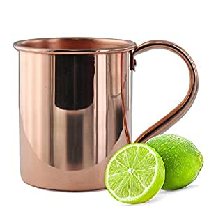 Solid Copper Mugs Moscow Mule Mug with No Inner Linings, 16 oz