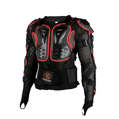 Ridbiker Motorcycle Full Body Armor Protector Removable Racing Jacket Motocross Spine Chest Motocross Protective Shirt,XL,Red