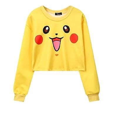 8b78528541256 Squirtle Jigglypuff Pikachu Crop Top Harajuku Loose 3D Pokemon Cartoon  Print Sweatshirt Ladies  Pullover (