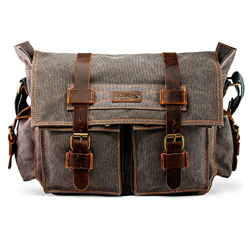 GEARONIC Mens Canvas Leather