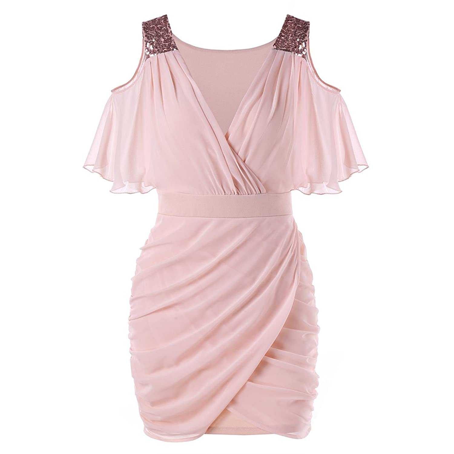 a9544065c414 Online Cheap wholesale DEZZAL Womens V-Neck Cold Shoulder Sequined Ruched  Chiffon Mini Bodycon Dress Dresses Suppliers
