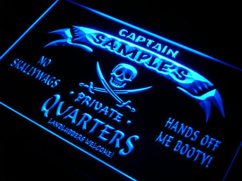 pw1564-b Christian's Captain Private Quarters Skull Bar Beer Neon Light Sign