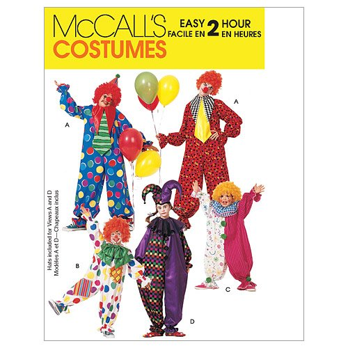 McCall's Patterns M6142 Children's/Boys'/Girls'/Misses'/Men's/Teen Boys' Clown Costumes, Size L-XL -