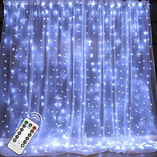 Twinkle Star 300 LED Window Curtain String Light with Remote Control Timer for Christmas Wedding Party Home Garden Bedroom Outdoor Indoor Decoration, White (Best Christmas Window Lights)