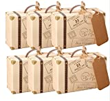 AmaJOY 50pcs Mini Suitcase Wedding Favor Box with Kraft Card and Burlap Twine Candy Box for Birthday Party Baby Shower Wedding Decor