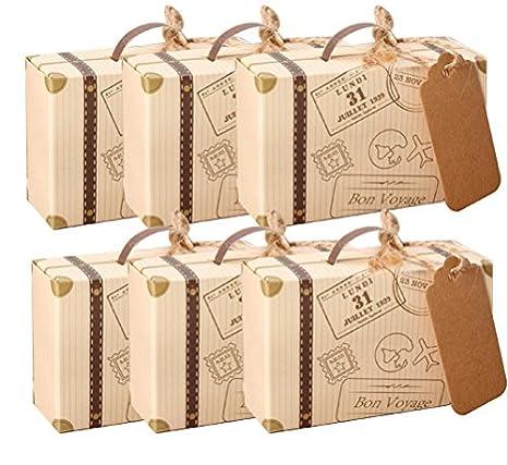 amajoy 50pcs Mini maleta boda Favor caja con cordel de yute de tarjeta de papel Kraft y Candy caja para fiesta de cumpleaños bebé ducha boda Decor: ...