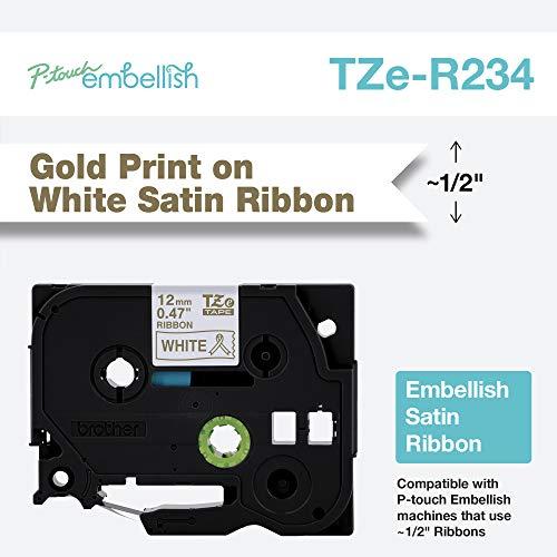 - Brother International Brother P-Touch Embellish Gold Print on White TZER234 Satin Ribbon,
